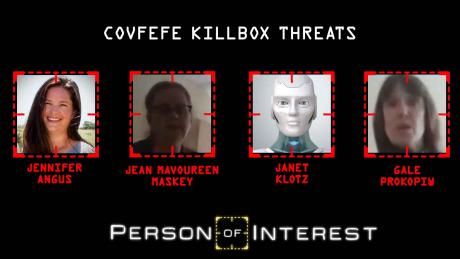 Covfefe Threats are: Jennifer Angus, Jean Mavoureen Maskey, Janet Klotz, Gale Prokopiw
