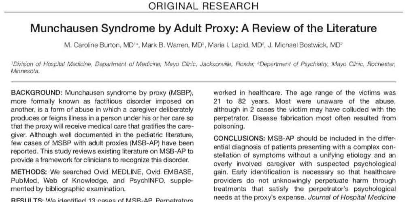 Munchausen Syndrome by Adult Proxy: A Review of the Literature